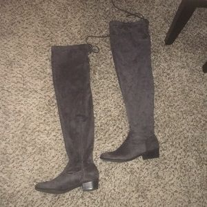 Shoes - Over the knee faux suede gray boots